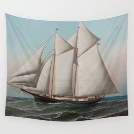 Vintage Schooner Sailboat Illustration (1887) Wall Tapestry