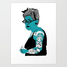 Tattoo Lady colour by Emilythepemily Art Print