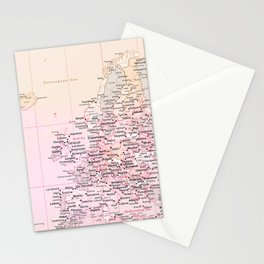 Rose Word Map Europe Stationery Cards
