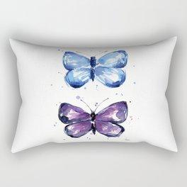 Butterflies Watercolor Blue and Purple Butterfly Rectangular Pillow