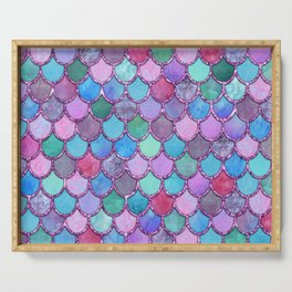 Colorful Pink Glitter Mermaid Scales Serving Tray