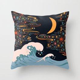 Midnight wave Throw Pillow
