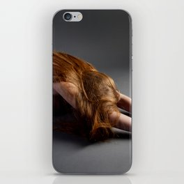 1727-PDJ Nude Redhead Bowing Down Hands Out iPhone Skin