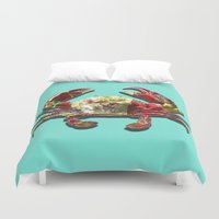 crab Duvet Covers featuring Lucky Crab by JonezuArt