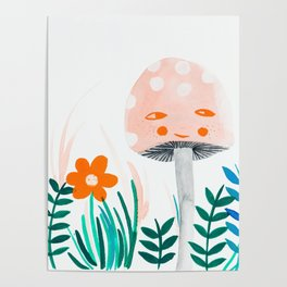 pink mushroom with floral elements Poster