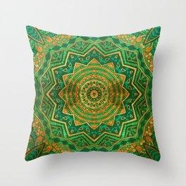 Jade Mandala Throw Pillow