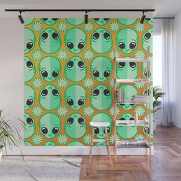 Happy Alien and Daisy Nineties Grunge Pattern Wall Mural