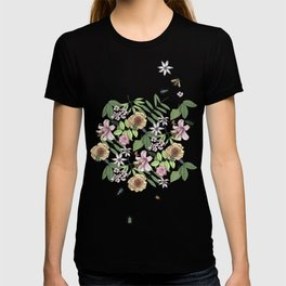 lush floral pattern with bee and beetles I T-shirt