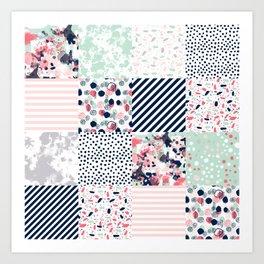 Patchwork quilt cheater quilt pattern gender neutral nursery baby decor Art Print