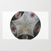 pentagram Area & Throw Rugs featuring Galactic Pentagram (ANALOG zine) by johngerGEOs