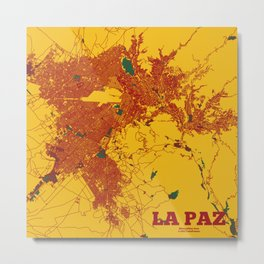 La Paz, Bolivia, metro area street map Metal Print