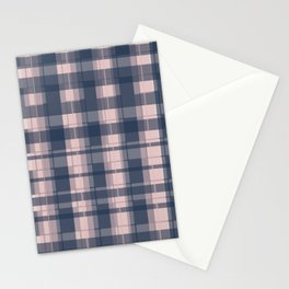 Dusty rose and Blue Modern Tartan Stationery Cards