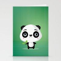 panda Stationery Cards featuring Panda by Maria Jose Da Luz