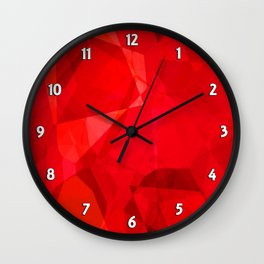 Mottled Red Poinsettia 2 Abstract Polygons 2 Wall Clock