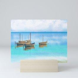 Sailing Boats on Blue Water Artwork Mini Art Print