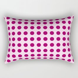 Happy Place Large Polka Dots in Pink Rectangular Pillow