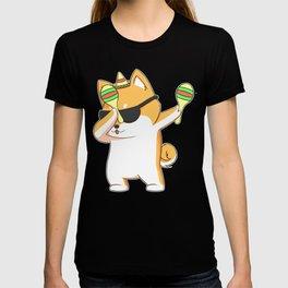 Dabbing Shiba Inu Dog In Sombrero With Maracas T-shirt