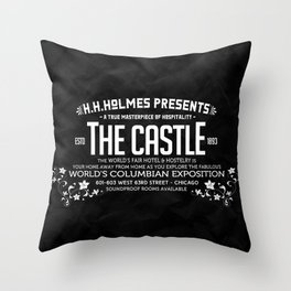 H.H.Holmes Presents: The Castle Throw Pillow