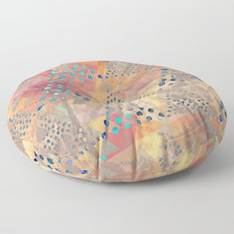 TRIANGLES DOTS LEAVES PATTERN-2 Floor Pillow