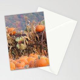 Orange Home Decor Rustic Farm Equipment Pumpkins Corn Mountain Landscape Stationery Cards