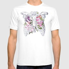 Floral Ribcage White Mens Fitted Tee SMALL