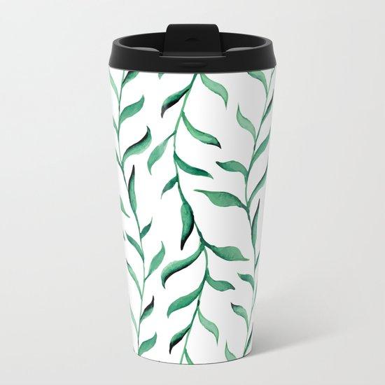 Green branches Metal Travel Mug