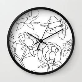 Roses, Black Line Drawing on White Wall Clock
