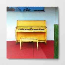 Out of Tune - Vintage Beach Piano Metal Print