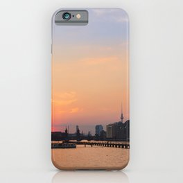berlin kreuzberg -  skyline, sunset, river and boats iPhone Case
