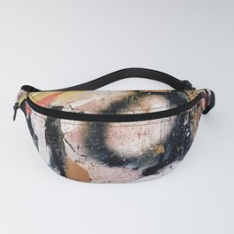 Lightning Soul: a vibrant colorful abstract acrylic, ink, and spray paint in gold, black, pink Fanny Pack