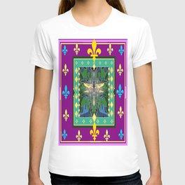Yellow Dragonfly Purple Fleur de Lys Abstract T-shirt