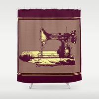 sewing Shower Curtains featuring Vintage Singer Sewing Machine by CLE.ArT.