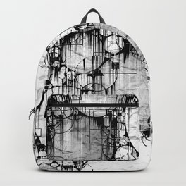 Glitch Black & White Circle abstract Backpack
