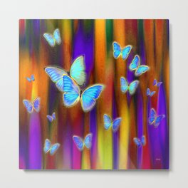Silken Wings, Rainbow. Metal Print
