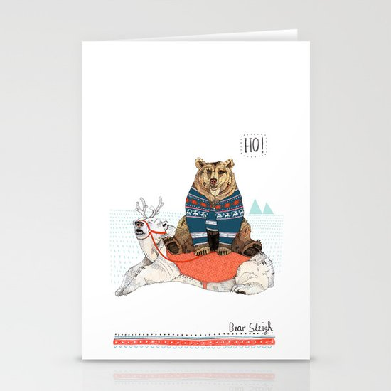 Bear Sleigh Stationery Cards