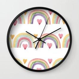 Rainbows & Hearts Wall Clock