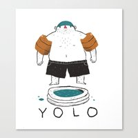 yolo Canvas Prints featuring yolo by Louis Roskosch