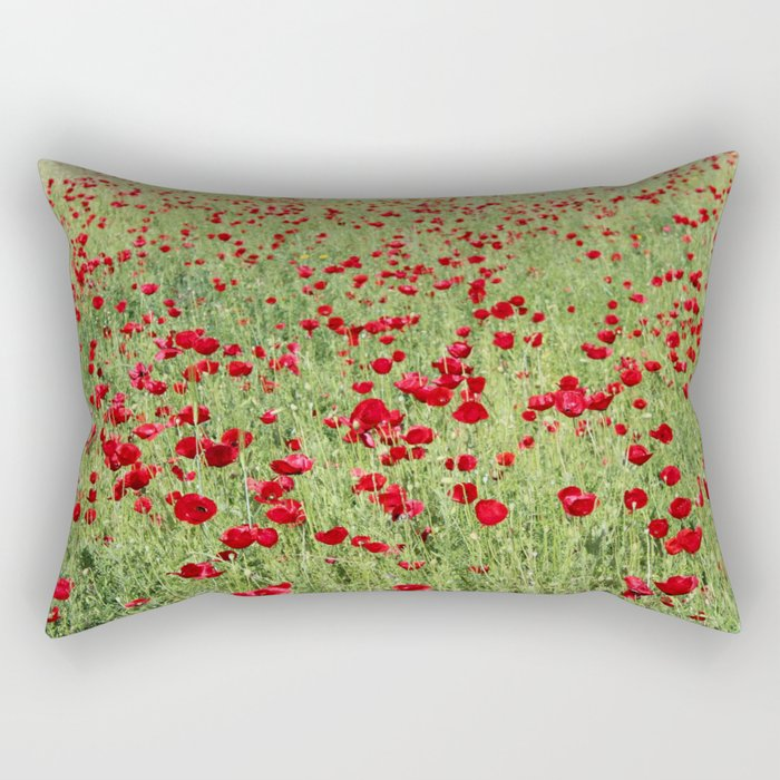 A Pasture Of Red Poppies and Remembrance Rectangular Pillow