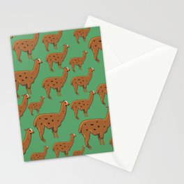 Llama Green Stationery Cards