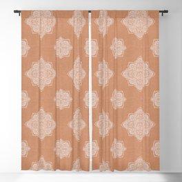 Modern boho terracotta floral mandala oriental pattern Blackout Curtain