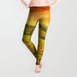 Red sunset over the rolling sunflowers and sunflower fields of Tuscany, Italy Leggings