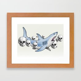 Shark & Skulls Framed Art Print