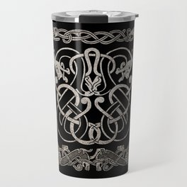 Old norse design - Two Jellinge-style entwined beasts originally carved on a rune stone in Gotland. Travel Mug
