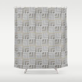 Bronze and Silver Squares Shower Curtain