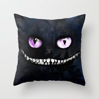 cheshire cat Throw Pillows featuring CHESHIRE by Julien Kaltnecker