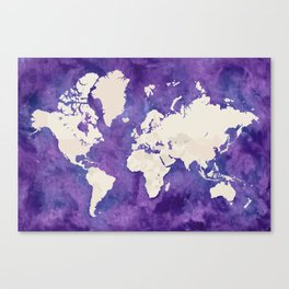 Purple watercolor and light brown world map with outilined countries Canvas Print