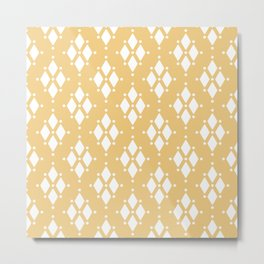 Rhombus diamond shapes boho tribal pattern sand beige Metal Print