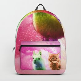 Kitty Cat Riding On Rainbow Llama In Space Backpack