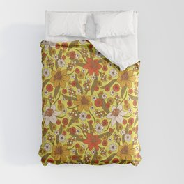 1970s Hippy/Flower Power Yellow, Orange & Brown Pattern Comforters
