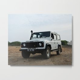 Classic Landrover Defender 2 | classic car photography | white oldtimer poster Metal Print